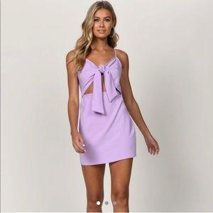 lavender tie front dress